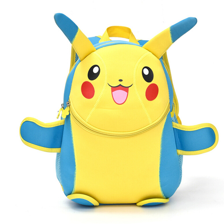Newest neoprene cartoon school backpack , durable cute lovely pokemon pikachu backpack for kids , wholesale with factory price