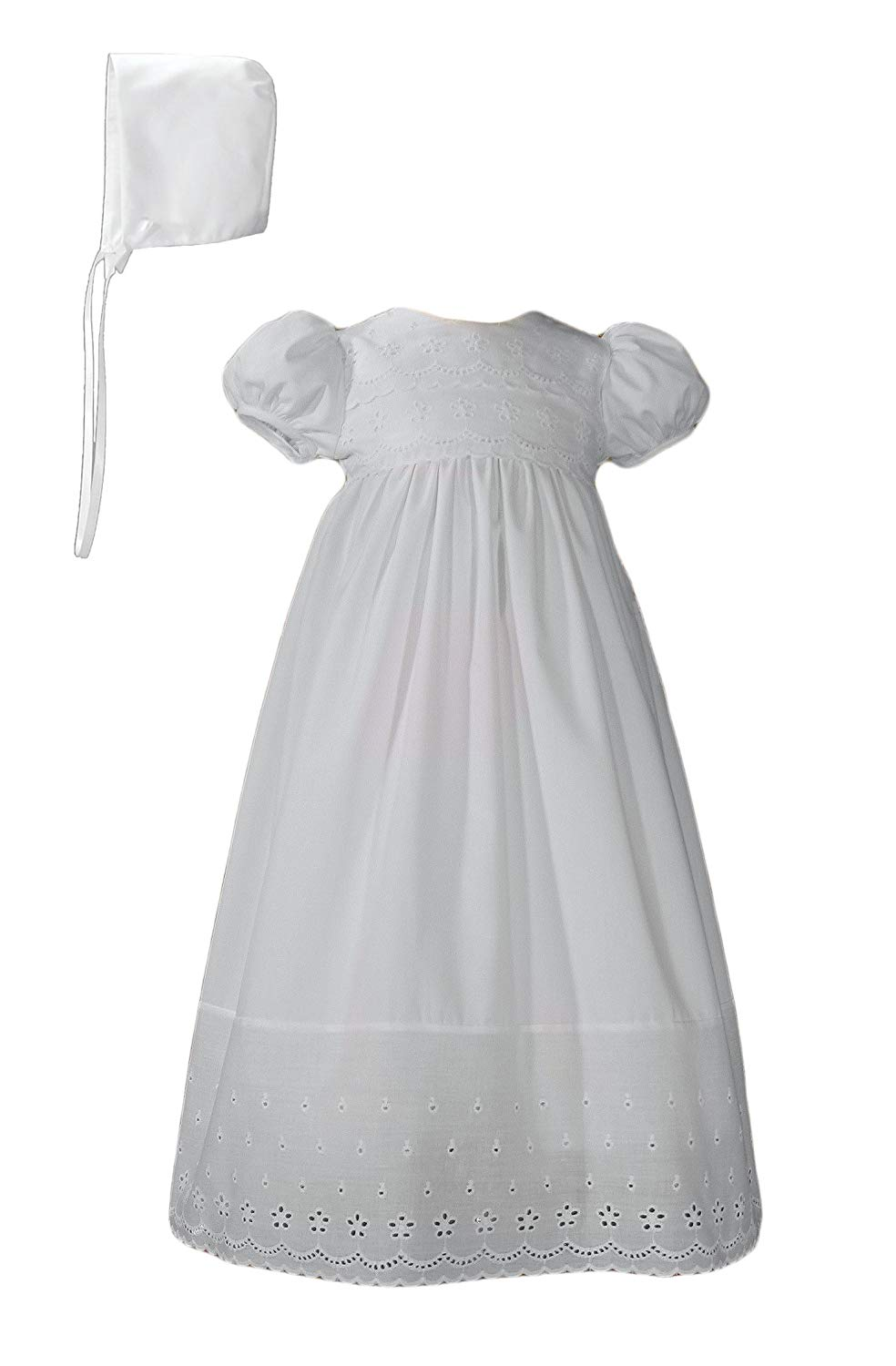 Little Things Mean A Lot 100% Cotton Dress Christening Gown Baptism Gown with Lace Border