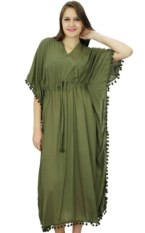 0cc71613a0 Get Quotations · Bimba Women Long Printed Kaftan Soft Modal Cotton Beach  Cover Ups Maxi Kaftan