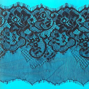 Factory Direct Sale 15cm Wide 100% Nylon Embroidered Eyelash Fabric Lace For Dress