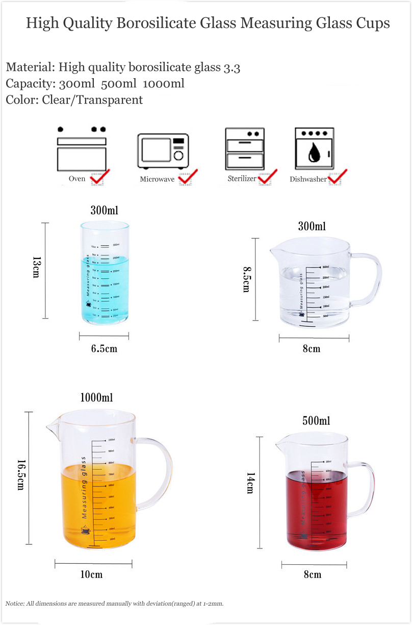 300ml 500ml 1000ml Heat Resistant High Quality Borosilicate Glass Measuring Glass Cup