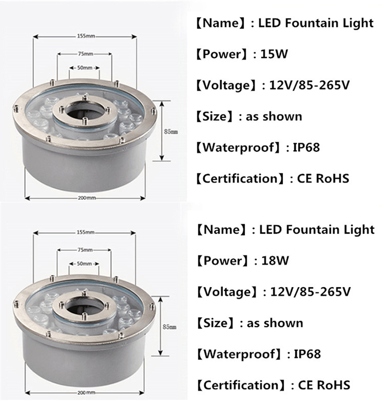 12V IP68 waterproof stainless steeI underwater light 9w 12w 15w 18w led fountain light