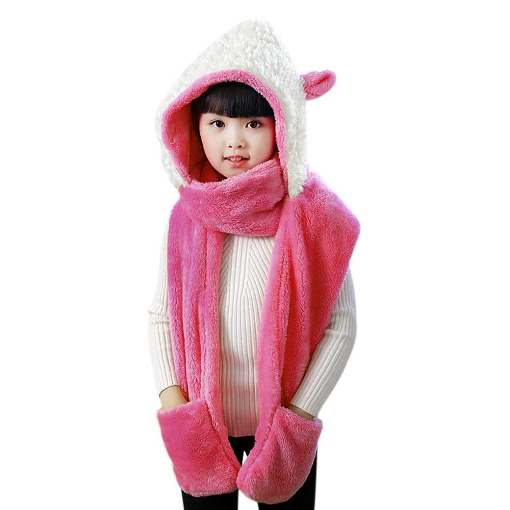 6b3adc57da4 Get Quotations · Kids Teens Girls 3 in 1 Warm Plush Fluffy Cartoon Winter Hats  Scarf Mitten Gloves with