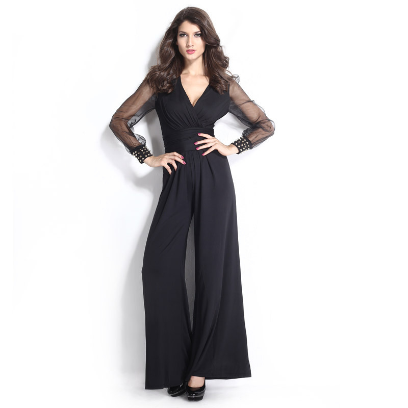 c8d8b2a839f Get Quotations · Fashion Women Loose Grown Carpet Jumpsuit Black V-Neck  Casual Jumpsuit Rivet Sheer Mesh Party