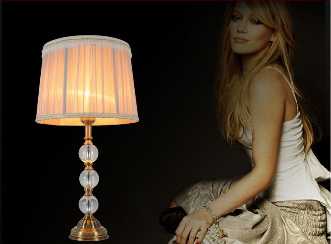 TFs Vintage Luxury Crystal Ball Table Lamp E27 Living Room Bedroom Bedside Grey Fabric Lamp shades Deco Desk Light 110-220V