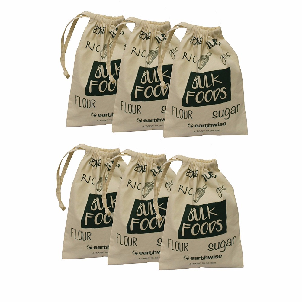 Organic Cotton Reusable Produce Bags Storage Bags For Grain Storage