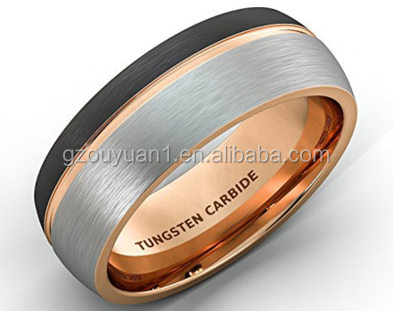 Wholesale Fashion Jewelry Guangzhou Domed Rose Gold Tungsten Ring Comfort Fit Tungsten Wedding Rings 8MM Brush Tungsten Ring
