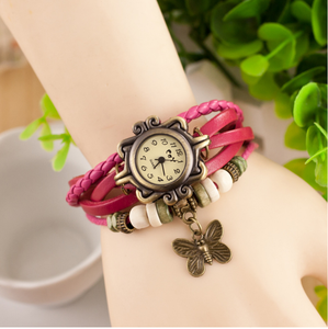 2018 High Quality Women Genuine Leather Vintage Watches,Women dress bracelet Wristwatches butterfly Pendant
