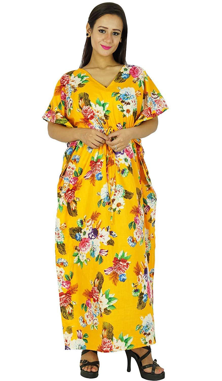 a83d14fff4 Get Quotations · Phagun Caftan Dress Printed Maxi Nightwear Cotton Long  Bohemian Women Kaftan