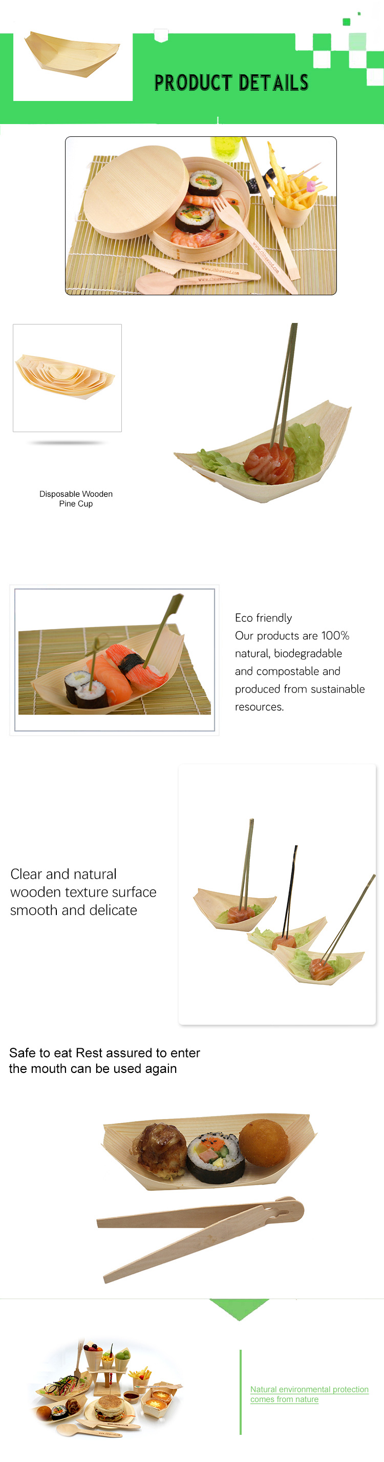 Chind disposable Pine Wooden Boat Plate
