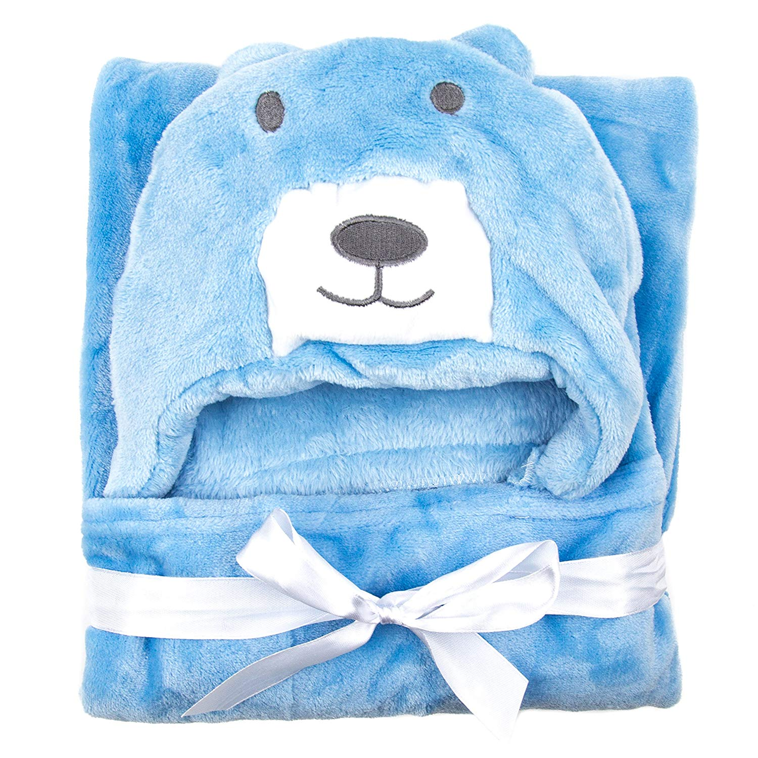 """Super Soft Baby Animal Hooded Blanket / Premium Hooded Baby Blanket / 100% ORGANIC Fleece/Perfect Baby Shower Gift/ 35x35"""" for Newborns Infants Toddlers & Kids/for Boys and Girls/Better than C (Blue)"""
