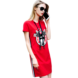 Ribbon Fashion Print Ladies Dress Street Style Women/Girl With Hood Black Hat Rope Over Knee T-shirt Dress hoodie dress
