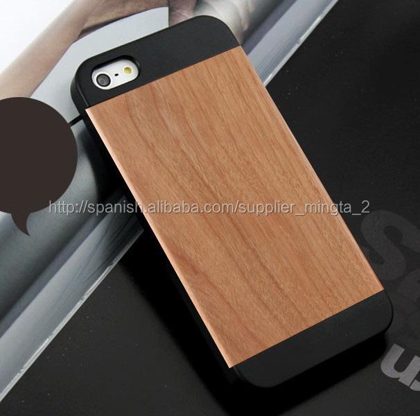 c11db34e1d7 buena calidad madera carcasa para celular Iphone 5 y 5s, funda de madera