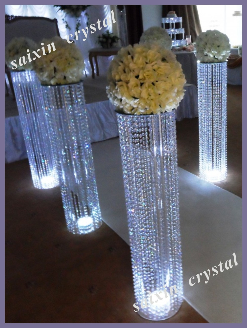 Chic Wedding Flower Gate Decoration With Led Crystal Stand