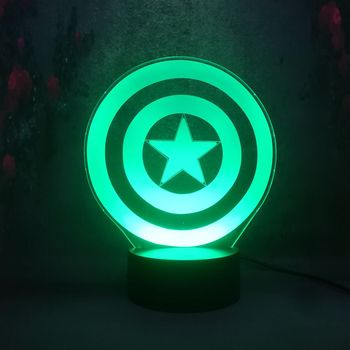 Lamparas de Lava ONS team captain wapen shield Multicolor Gradient Night Light Kind Spel 3D RGB chargeTouch lamp Kid Gift