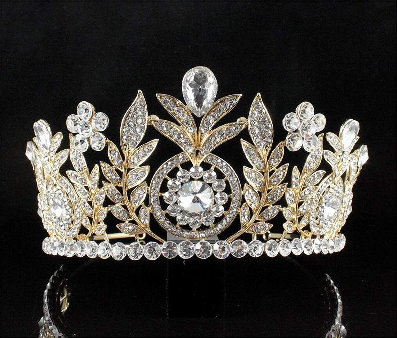 Bridal Flower Crystal Rhinestone Pearls Pageant Prom Wedding Crown Tiara 7397