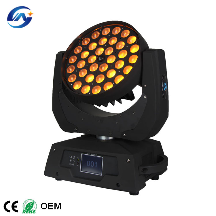 Professional RGBWA UV color Zoom 36x18W 6in1 led moving head wash stage lights