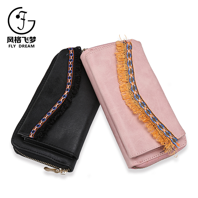 Low price national style ladies single zip long PU money cell phone wallet
