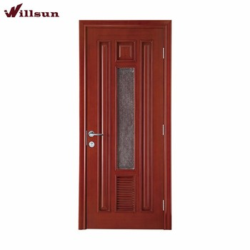 Finished Surface Interior Position PVC Flush MDF Doors Solid Wood Glass  Shutter Doors For Buildings