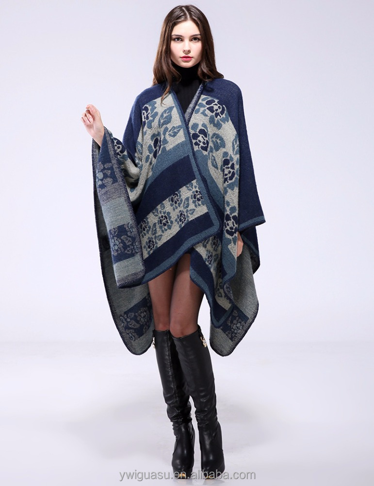 Europe and the United States wind autumn and winter thick flowers warm shawl cloak both sides wear jacket scarf
