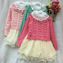 font b Fancy b font Baby Girls Knit Sweater Tops Lace Tulle Tutu Bow Party