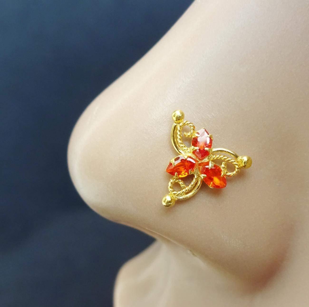 Orange Stone Gold Nose Ring,Crystal Diamond Piercing,Bollywood Nose Ring,CZ Simulated Diamond Piercing, Monroe Piercing,Crock Screw Nose Stud,Flower Nose Stud,Indian Nose Piercing(TEJ621)