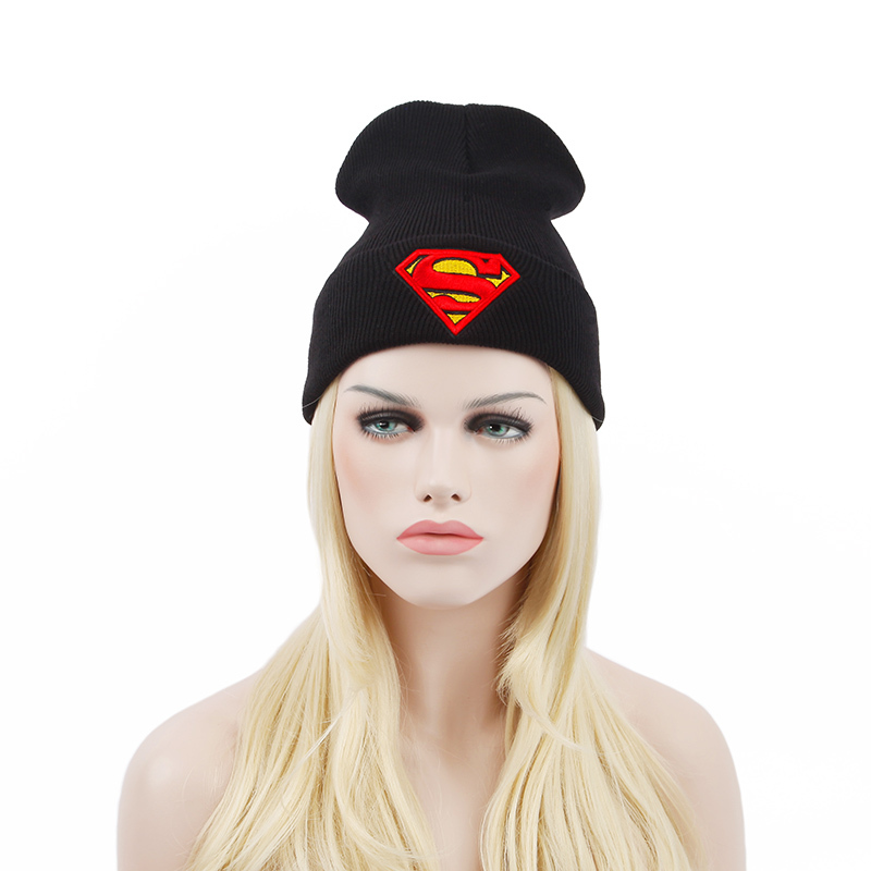 213d84255ee Get Quotations · New Superman Beanie Thick Cotton Hat Winter Hats for Women  and Men Skullies Beanies 1532