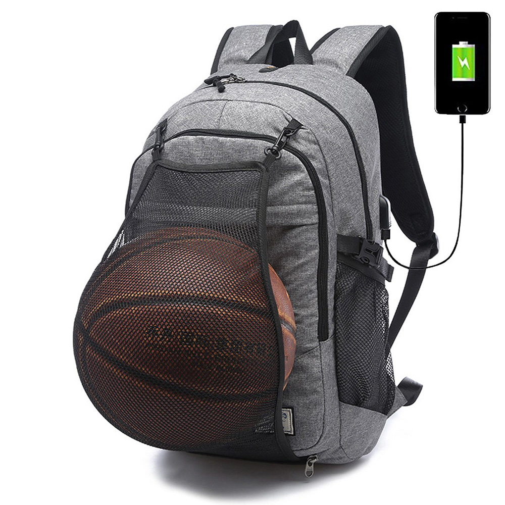 2018 Multifunctional Canvas Outdoor Laptop Sports Backpack Basketball Net Backpack With USB Charger