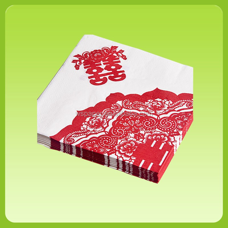 Folded Paper Napkins Serviettes Custom Printed Facial Tissue for hotel or wedding and party