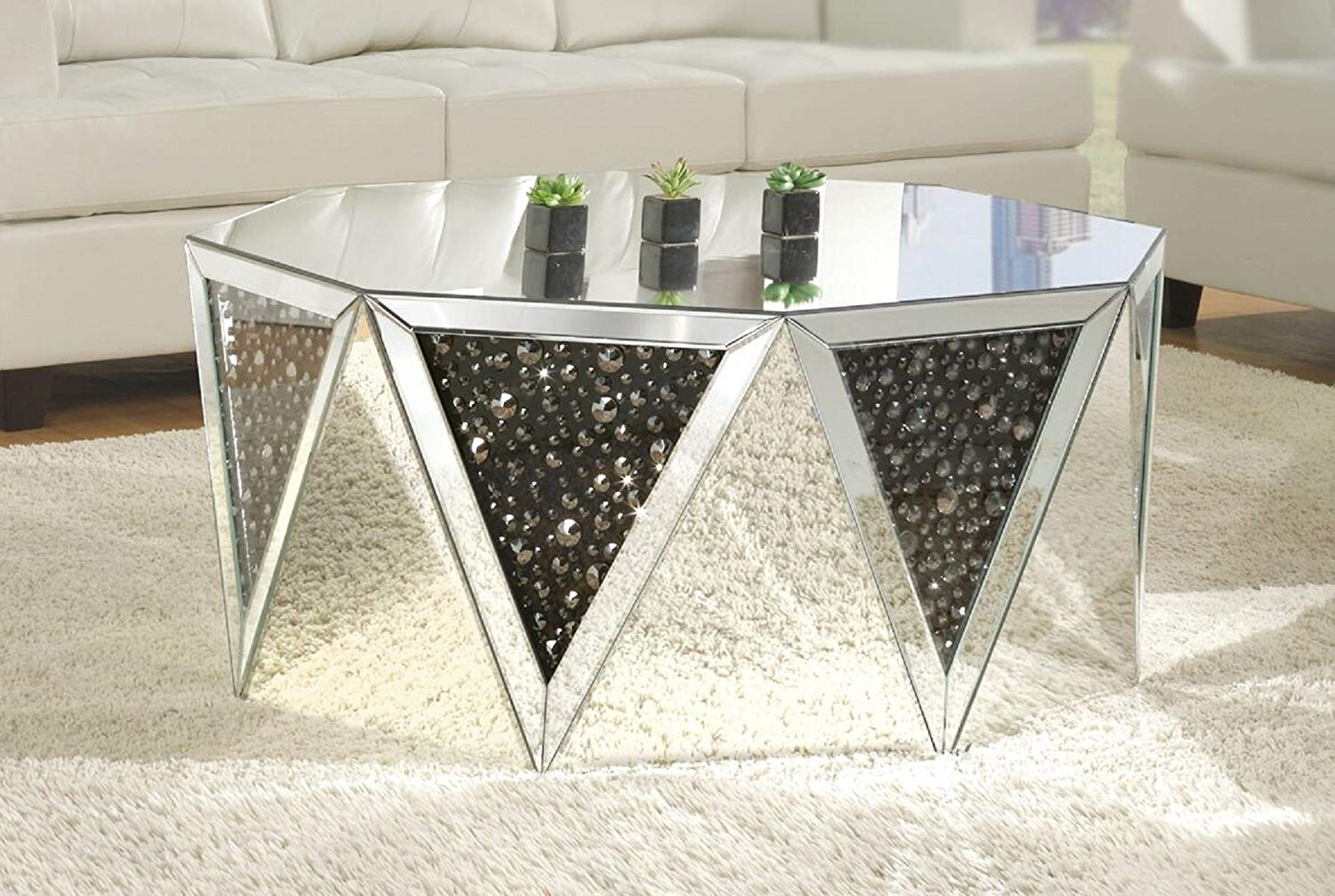 "Major-Q P9082775 18"" H Glam Modern Style Drum Shape Mirrored Top with Faux Gem Stones Inlay Living Room Occasional Coffee Table"