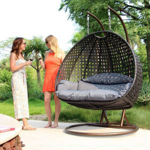 Wicker Rattan Hanging Bird Nest Two Seat Double Adult Jhula Swing Chair