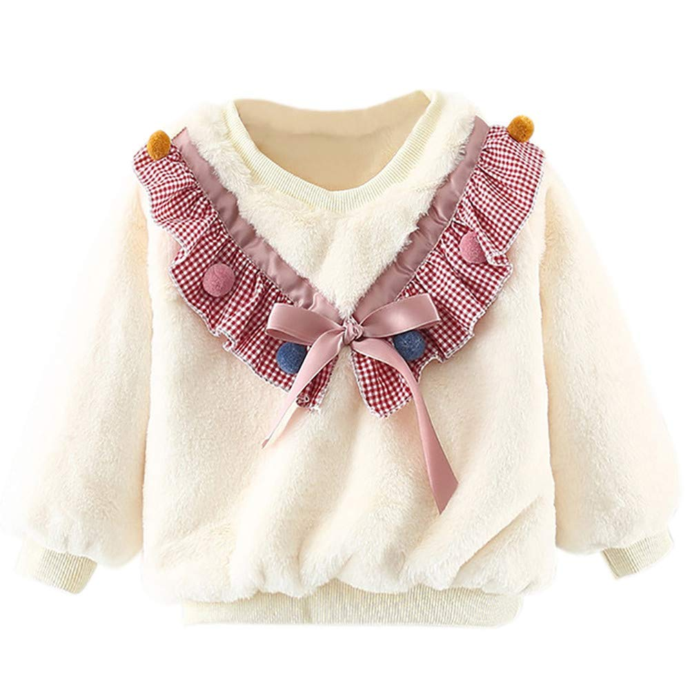 Little Kids Autumn Winter Warm Sweatshirt,Jchen(TM) Baby Kids Little Girls Boys Long Sleeve Plush Grid Pullover Tops Tee for 0-24 Months (Age: 6-12 Months, White)
