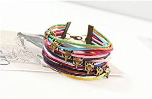 Rainbow Cotton Paraffined Rope Fox Head Adjustable Bracelet Wristband Comes with Wooden Textured Charms for Good Luck & Repel Evil