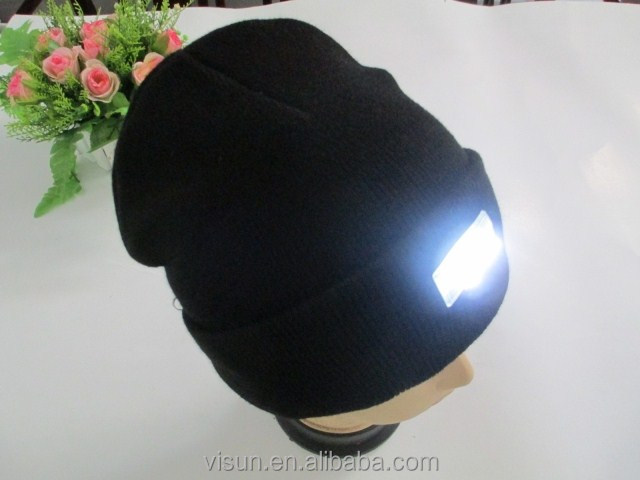 Wool knitted acrylic 5 led light hat for night fishing jogging sport reading