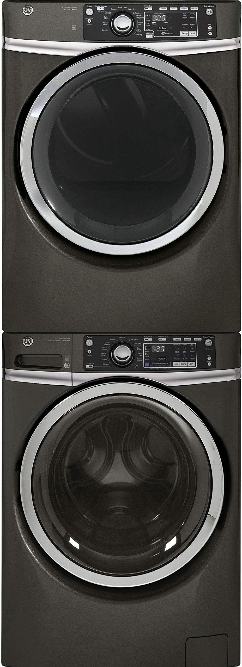 "GE Diamond Grey Front Load Washer with GFW480SPKDG 28"" Washer, GFD48GSPKDG 28"" Gas Dryer and GEFLSTACK Stacking Kit"