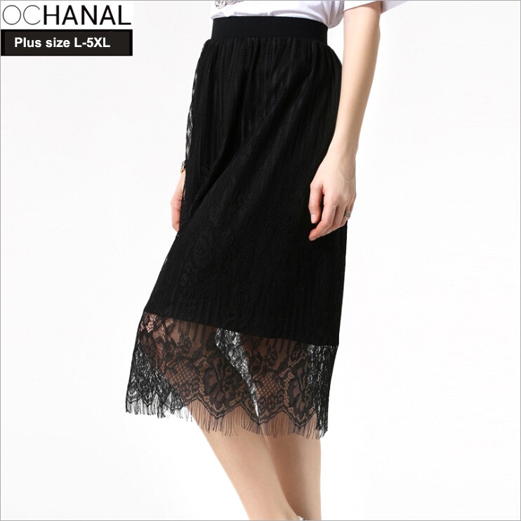 58820e80fa5 Get Quotations · 2015 Women Summer style Solid Black Lace Skirt Plus size  L-5XL European and American