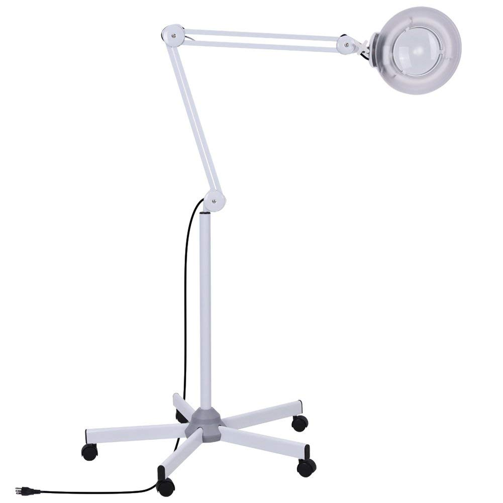 Magnifying Floor Lamp,Salon Magnifier Lamp 5X Floor Lamp Rolling Stand Adjustable Swivel Arm Bright Magnifying Light LED
