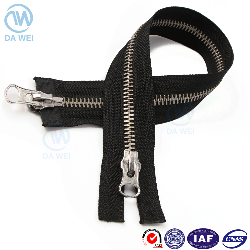 New arrival trendy style open end two way nickel brass metal zipper