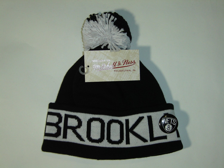 d9f505903afdb Get Quotations · Mitchell and Ness NBA Brooklyn Nets Vintage Block Cuffed  Knit Hat Pom Beanie