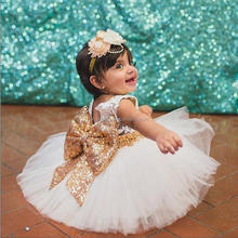 European style Girl Princess Dress Big Sequins Bow Lace Sleeveless Party Wedding Dress for 6 years