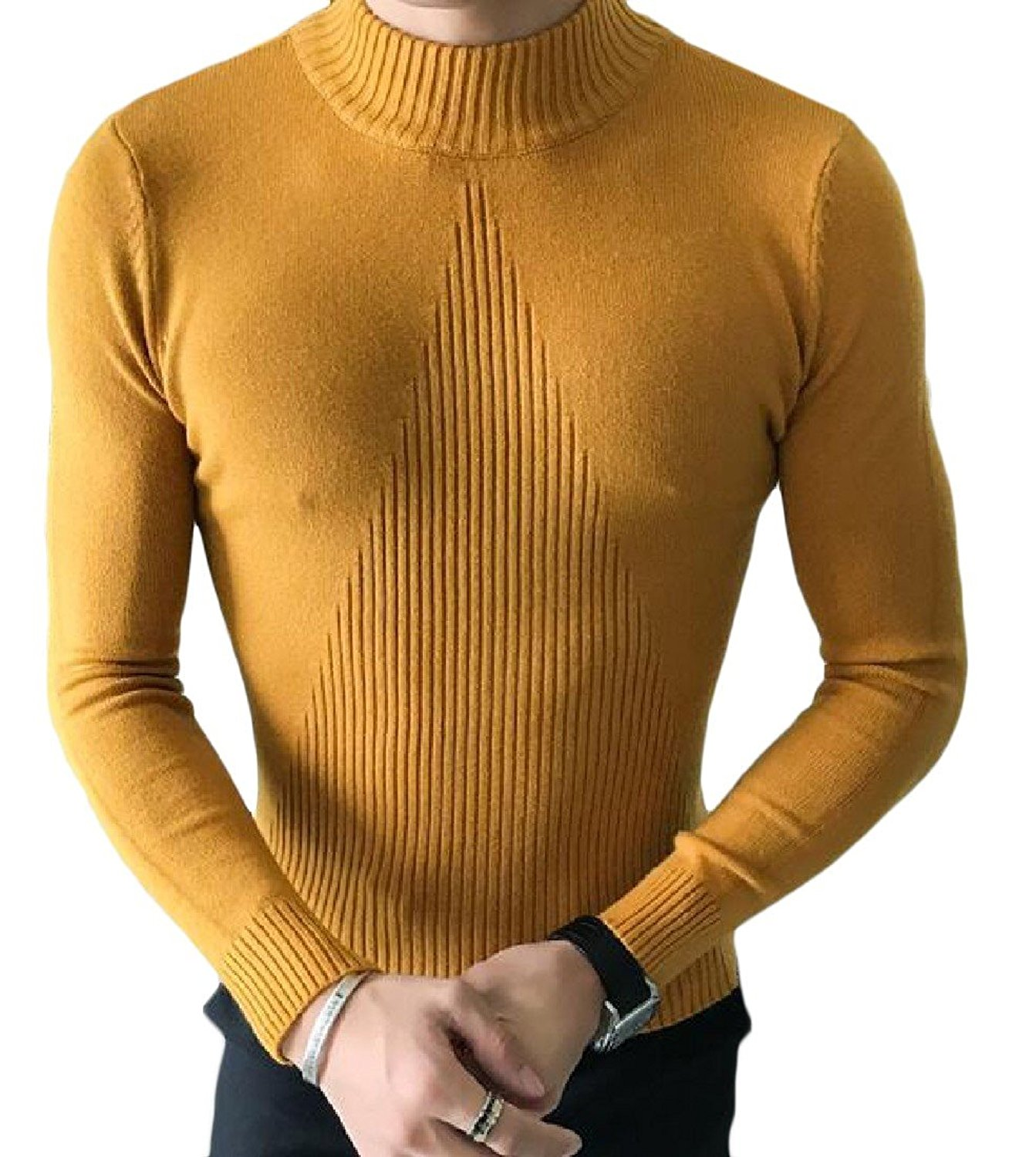 ONTBYB Mens Slim Casual Pure Color Knitted Pullover High Neck Sweaters