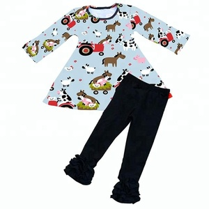 Bulk wholesale clothing baby tunic dress Cow print icing ruffle legging outfits