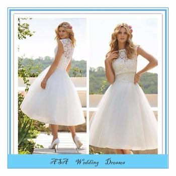 Ball Gown Free Jacket Lace Applique Bridal Dress Tea Length Bridal