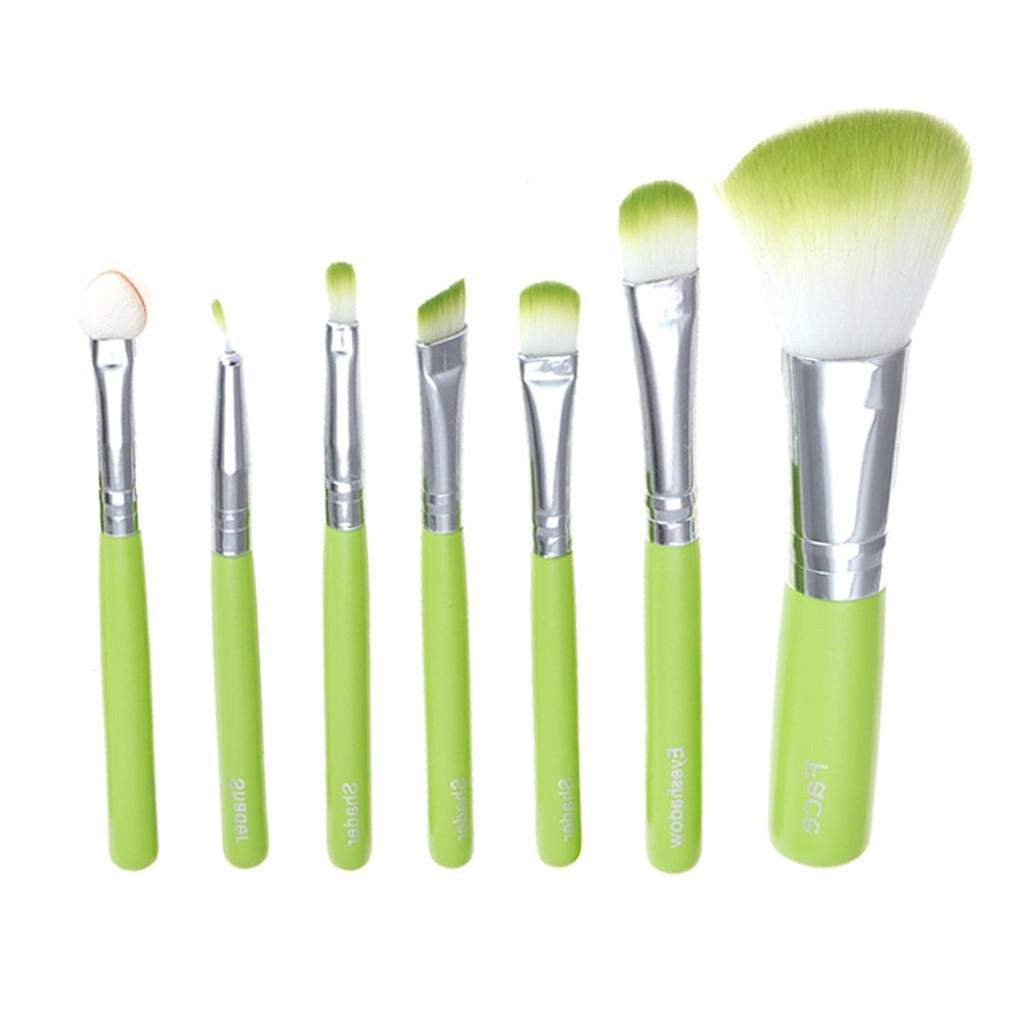 AMA(TM) 7pcs/set Makeup Brush Set tools Make-up Toiletry Kit Wool Make Up Brush Set (Green)