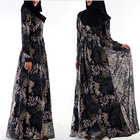 fancy fashion black embroidered long maxi dress abaya dubai style for muslim women