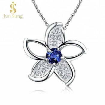 Wholesale Copper Alloy Jewelry Silver Flower Pendant Necklace for Women and Girls