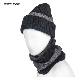 cb5923caa0ec8 Winter cashmere feel knitted christmas hat custom beanie and scarf unisex winter  knitted caps for men