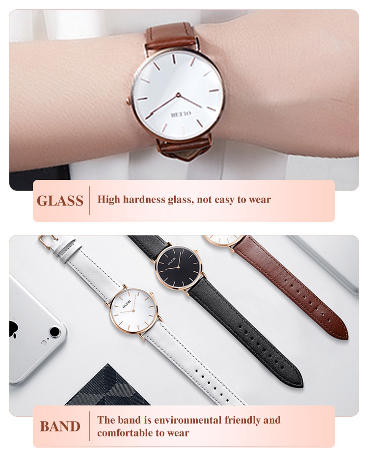 Ladies wholesale waterproof simple design accept customized  brand watch luxury couple wrist watch straps italian leather
