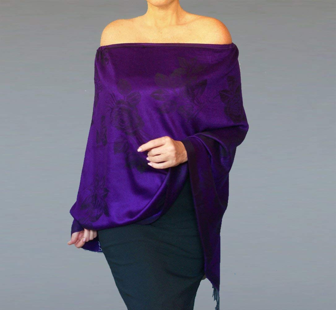 65ca02d64c7ff Get Quotations · Purple Pashmina Shawl Black Rose Scarf Evening Wrap By  ZiiCi