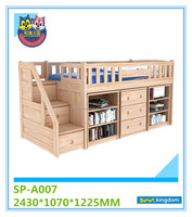 Childrens bedroom solid wood shaped bunk bed with staircase